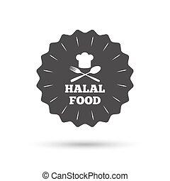 prodotto, naturale, cibo, segno, halal, icon., cibo.