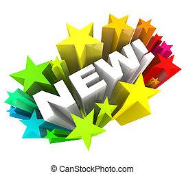 prodotto, parola, annunciare, marca, miglioramento, stelle, nuovo, o