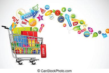 prodotto, pieno, shopping, vendita, carrello