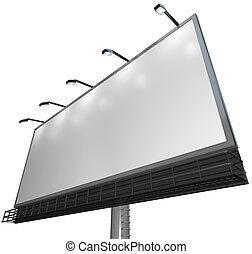prodotto, -, segno, annuncio pubblicitario, vuoto, tabellone, bianco