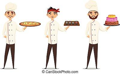 professionale, carattere, chef, multicultural, sorridente, set.