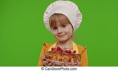 professionale, chroma, saporito, panettiere, capretto, bambino, chef, chiave, vestito, torta fragola, ragazza, cuoco