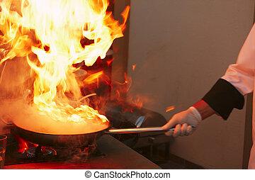 professionale, kitchen:, salsa, fabbricazione
