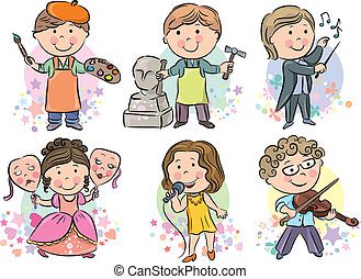 professioni, 2, set, bambini