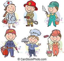 professioni, bambini, set, 3