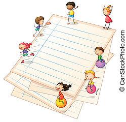 profili di fodera, carta, bambini giocando