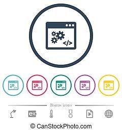 profili, domanda, appartamento, icone, interfaccia, programmazione, colorare, rotondo