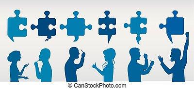 profilo, blu, concetto, success., persone affari, solution., puzzle, risolvere, pieces., strategia, colorare, team., cliente, grigio, problema, gesturing, service.