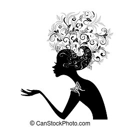profilo, capelli, ragazza, decorato