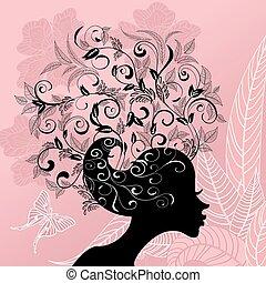profilo, capelli, ragazza, fiori, decorato