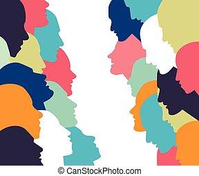 profilo, concept., discussion., persone parlando, testa
