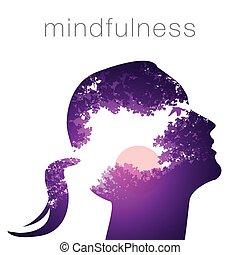profilo, donna, mindfulness