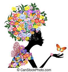 profilo, farfalla, ragazza, fiore