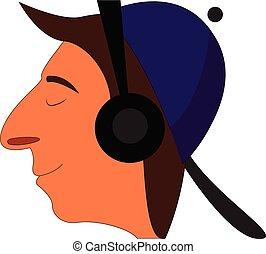 profilo, ragazzo, cuffie, viola, berretto, illustrazione, cartone animato, vettore, sfondo nero, bianco, sorridente