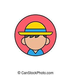 profilo, ragazzo, suo, turista, immagine, berretto, -, appartamento, vettore, disegno, avatar, testa, spiaggia, o, icona