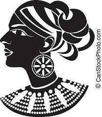 profilo, stile, africano femmina
