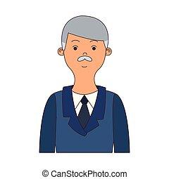 profilo, uomo affari, cartone animato