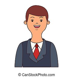 profilo, uomo affari, giovane