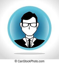 profilo, uomo affari, icona