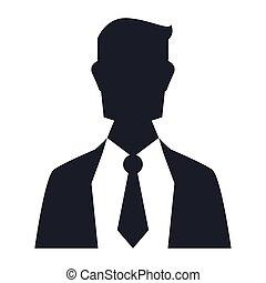 profilo, uomo affari, silhouette