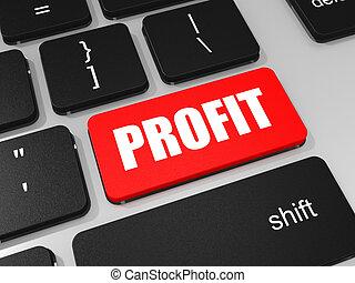 profitto, chiave computer portatile, computer., tastiera