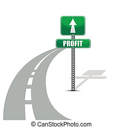 profitto, disegno, strada, illustrazione