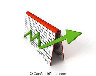 profitto, grafico, frecce, verde