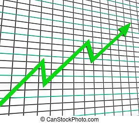 profitto, grafico, linea, verde, mostra