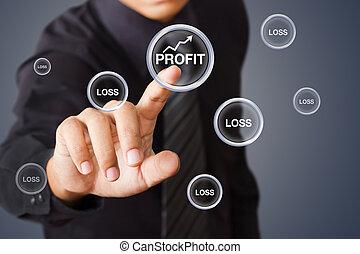 profitto, uomo affari, bottone, urgente