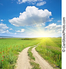profondo, corsia, sky., strada, blu