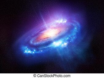 profondo, galassia, spirale, spazio, colorito