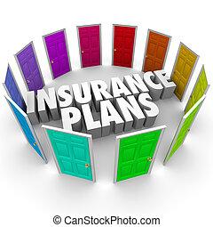 progetti, molti, scelte, opzioni, salute, porte, assicurazione, cura