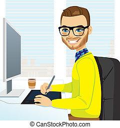 progettista, grafico, hipster, lavorativo, uomo