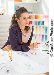 progettista, pensieroso, moda, ufficio