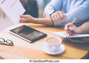 progetto, professionale, colleghi, caffè, discutere