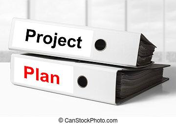 progetto, raccoglitori, piano, ufficio