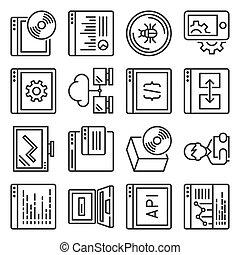 programmazione, set., domanda, linea, stile, icone, vettore, software
