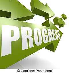 progresso, verde, freccia