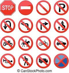 proibito, arrestare segno strada
