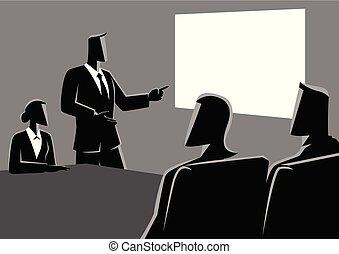 proiettore, persone affari, usando, riunione, detenere