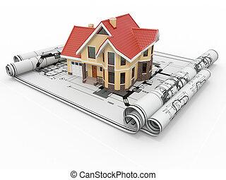 project., residenziale, alloggio, architetto, casa, blueprints.