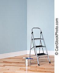 project., stanza, scala, lattina vernice, rinnovamento