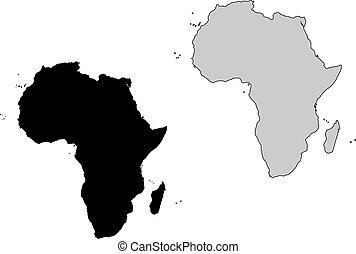 projection., africa, map., nero, white., mercator