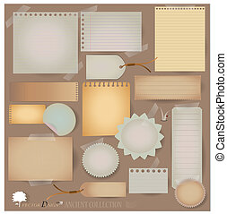 projects), vettore, scrapbooking, cartolina, designs., vuoto, tuo, (variety, disposizioni, carta, vendemmia, scarti, o, set:
