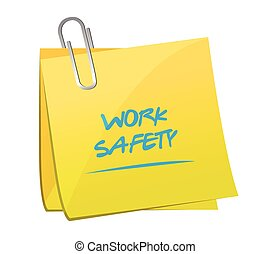 promemoria, lavoro, sicurezza, palo, illustrazione