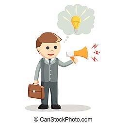 promuovere, idea, uomo affari