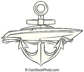 pronto, striscia, vettore, illustratio, vinile, barca, grafica