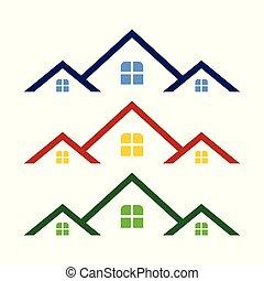 proprietà, triplo, simbolo, sagoma, reale, disegno, logotipo, tetto