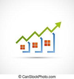 proprietà, vendite, crescente, logo., reale, chart., finanziario