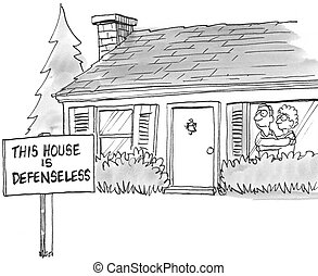proprietari, indifeso, segno, possedere, casa, spaventato
